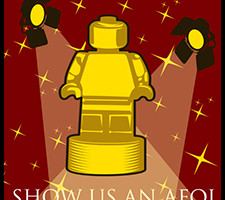 "Golden minifig trophy ""Show us an AFOL"""